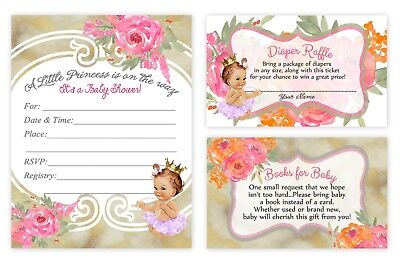 Baby Shower Invitations Girl Diaper Raffles and Book Card Insert Princess QTY 30](Princess Baby Shower Invitations)