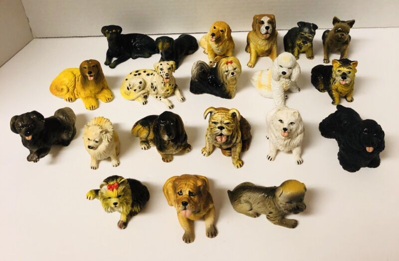 Vintage Rubber Plastic Dog Toy Figures Lot of 20 Mixture Of Dog Breeds New Ray