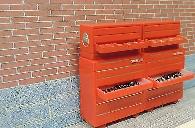 FOUR RED TOOLS BOXES WITH OPENING DRAWERS and TOOLS GARAGE DIORAMA 1:24(G)Scale