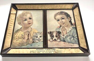 Vintage Giveaway Homaid Furniture Framed Picture Children Praying Advertising