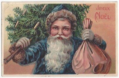 1907 Embossed German SANTA CLAUS - Blue Suit Carrying Tree & Bag of Gifts, PFB - Santa Claus Blue Suit