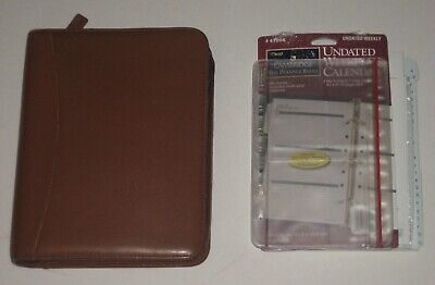 Franklin Covey Brown Leather Planner Binder 1.5 7 Rings Many Inserts