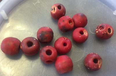 Vintage Italian Deep Red Chunky Organic Pitted Texture Glass Coral Look Bead Lot for sale  Shipping to India