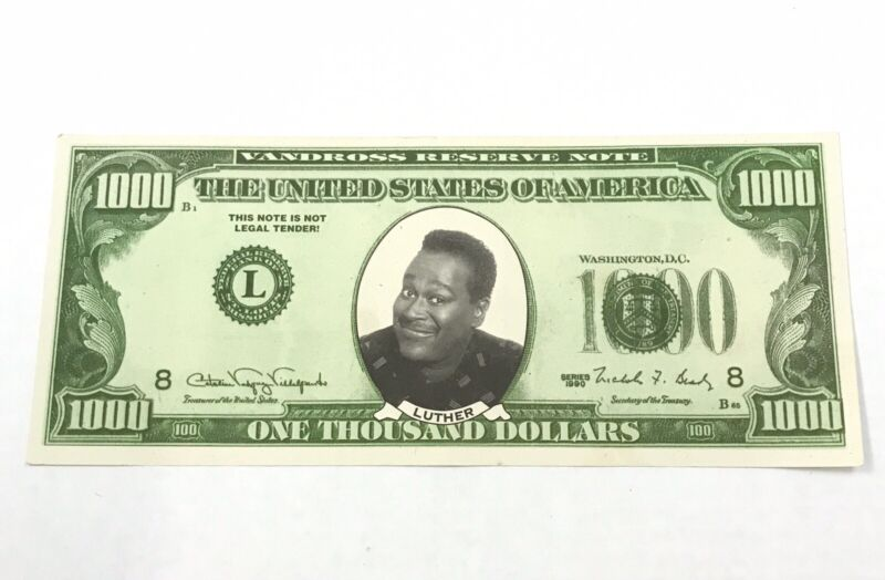 Vintage Luther Vandross Thousand Dollar Bill Promo Ad Money Mini Poster