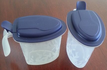 TUPPERWARE  Salt 'N Spice Set with Blue Flip Cover Springfield Lakes Ipswich City Preview