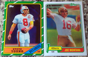 JOE MONTANA 1981 STEVE YOUNG 1986 Topps Rookie Card RC 49ers 7 Superbowl Rings