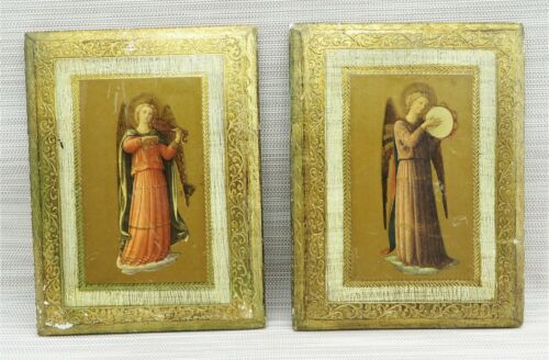"""Vintage Lot of 2 Florentine Angel Gold Gilt Wood Wall Plaques Italy 6""""x8"""""""