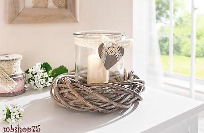 Windlicht mit Kranz Kerzenglas Laterne Kerzenhalter Deko Shabby Landhaus natur