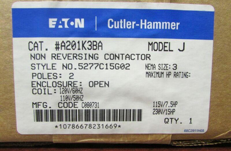 EATON CUTLER HAMMER A201K3BA Size 3 A200 110 120V 2 Pole Contactor