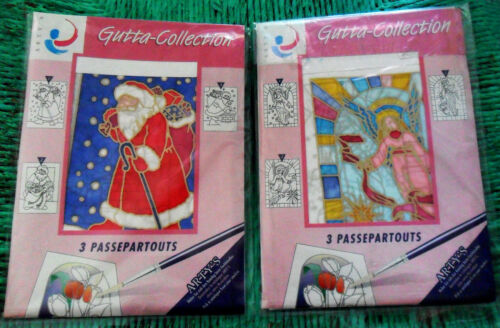 Lot 2 x 3 PASSE PARTOUTS Cards + Envelopes SILK Painting Gutta Collection Arty