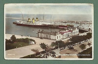 1940 TINTED RP PC MAIL BOATS AT PIER, DUN LAOGHAIRE