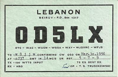 OLD VINTAGE OD5LX BEIRUT LEBANON AMATEUR RADIO QSL CARD