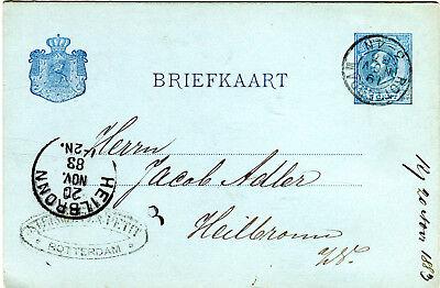 GA Ganzsache Niederlande 1883 von Rotterdam nach Heilbronn 5 Cent GA102