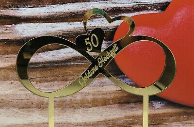 Caketopper Tortenaufsatz Endlosschleife Gravur Goldene Hochzeit aus Spiegelacryl