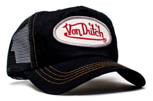 Authentic Brand New Von Dutch Black Cotton Twill Cap Hat Mesh Snapback