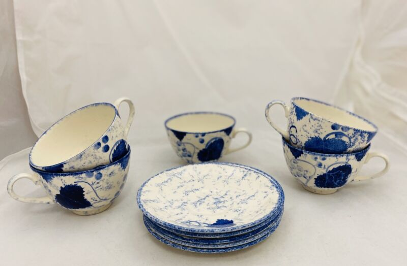 Set of 5 coffee/tea cups and saucers Poole Pottery England Blue Vine pattern