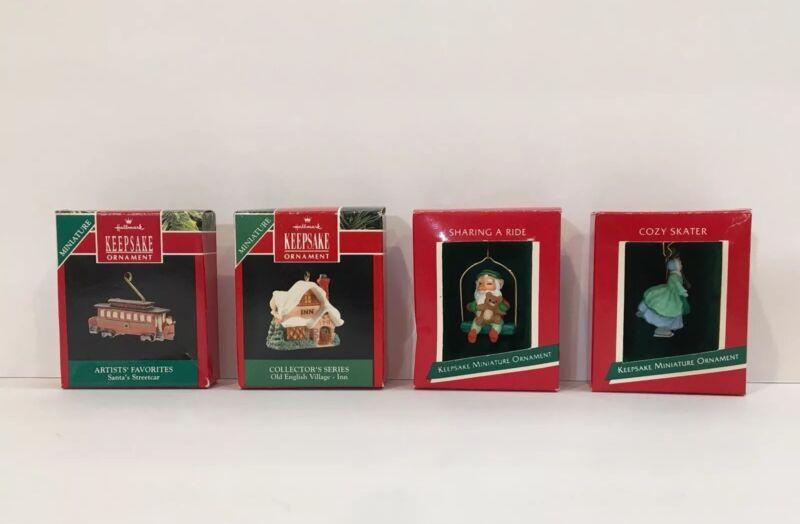 Hallmark Miniature Ornaments Vtg Keepsake Skater Village Elf Streetcar Chr