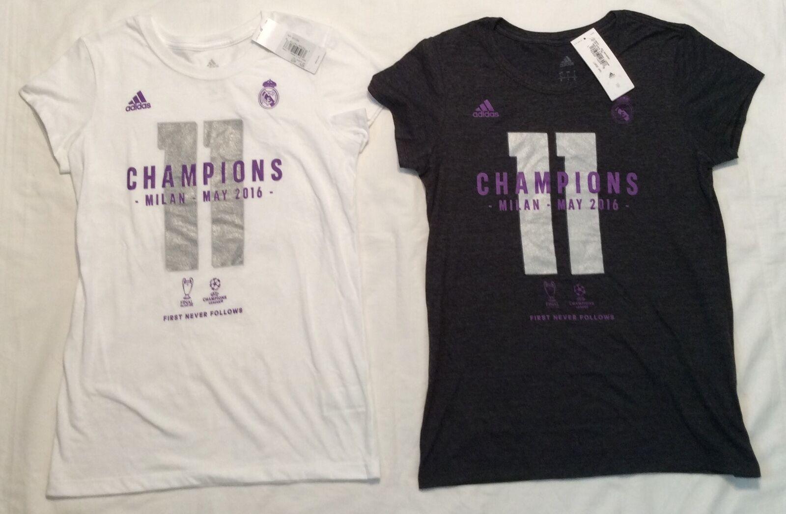 Womens REAL MADRID FUTBOL Soccer CHAMPIONS T SHIRT MILAN 201