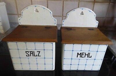 2 alte Vorratsdosen Vorratsbehälter Keramik von Staffel mit Holzdeckel