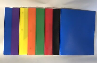 Poly 2 Pocket Folders With Fasteners Set Of 7 Assorted Colors Office Depot