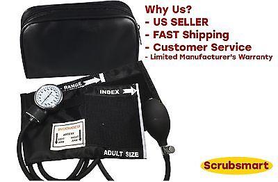 Black Deluxe Aneroid Sphygmomanometer Blood Pressure Bp Monitor - Reg Adult 217b
