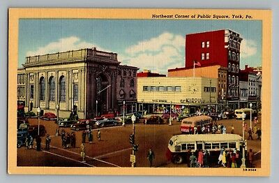 York Pennsylvania PA Northeast Corner Public Square Signs Cars Bus Postcard 1945