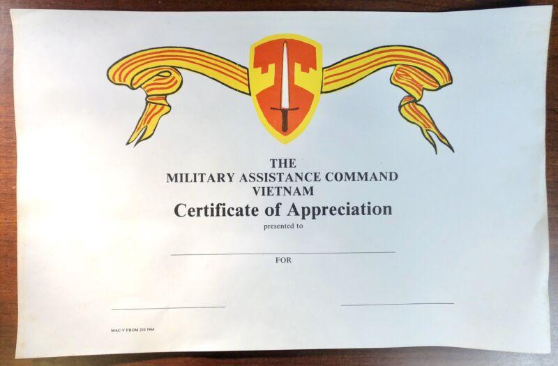 Original MACV Vietnam Certificate of Appreciation Military Army Assistance Comma