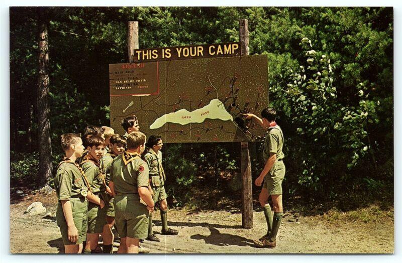 Postcard Boy Scouts America BSA Camp Carpenter Map Long Pond Manchester NH  R01