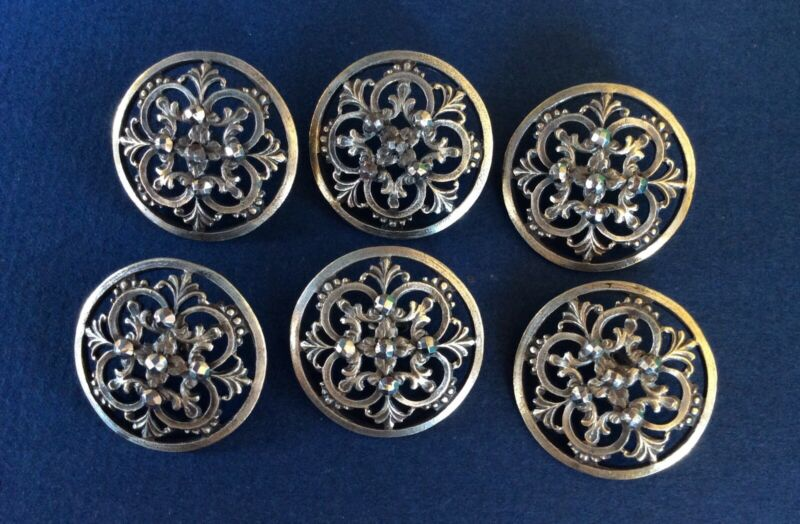 Gorgeous Set 6 Openwork Silver Metal & Cut Steels Buttons