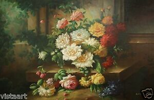 Oil Painting Stretched Canvas 24 x36 Classic Flower
