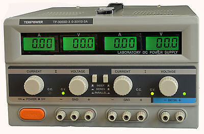 Tekpower Tp-3003d-3 Digital Variable Triple Outputs Dc Power Supply 30v 3a