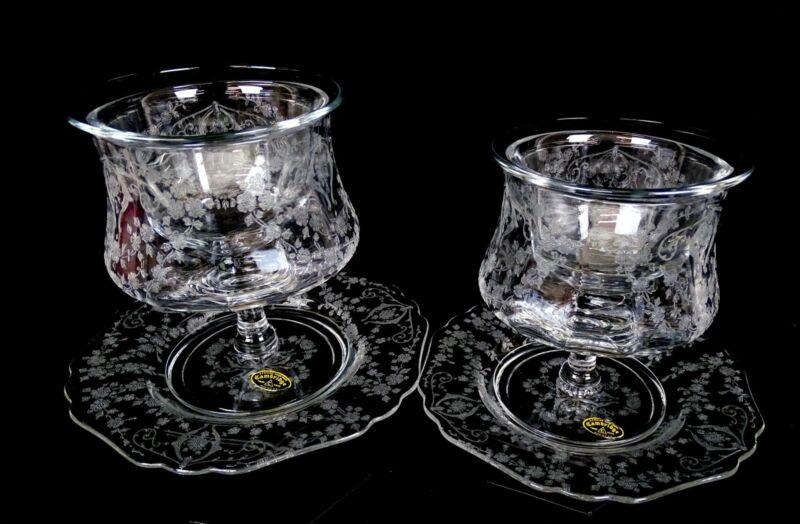 """CAMBRIDGE ELEGANT GLASS DIANE 4 3/4"""" 6 PC SHRIMP COCKTAILS AND UNDERPLATES 1932-"""