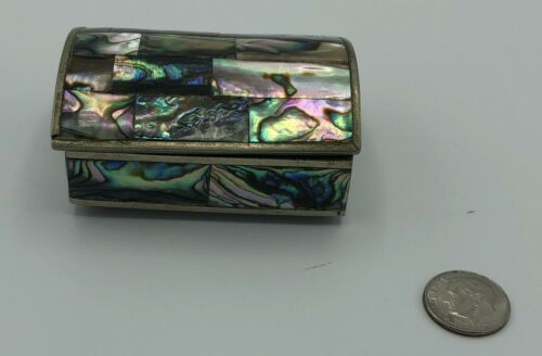 Vintage Mexico Domed HINGED TRINKET BOX Silver Inlaid Abalone Mother of Pearl