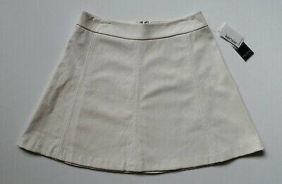 Kensie Faux Leather A-Line Skirt Womens Medium Parchment White KS2K6053 New