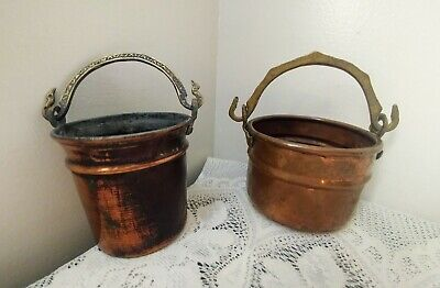 Vintage Small Round Copper Pails / Pots w/Ornate Brass Handles ~ Lot of 2