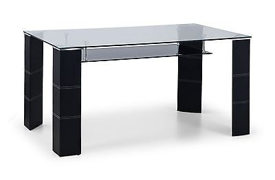 Julian Bowen Greenwich Chrome & Glass Dining Table with Black Faux Leather