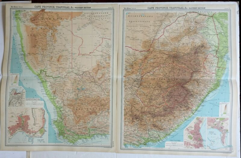 South Africa Cape Province 1922 large detailed two sheet map