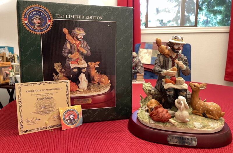 """emmett kelly jr Signed Limited Edition Collectible """"Forest Friends"""" #3333/7500"""