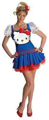 Blue Classic Hello Kitty Retro Cat Fancy Dress Up Halloween Sexy Adult Costume ()