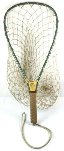 Vintage Cortland 5004-0 It Floats Fishing Net Wood Handle Hand Knotted Fishnet