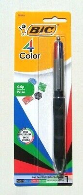BIC 4 Color Ink Ball Pen w/ Grip ~ Black, Red, Blue, Green Ink ~ Medium ~ 18550