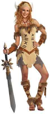 Viking Princess Warrior Cavewoman Cave Girl Fancy Dress Halloween Adult Costume - Girl Warrior Costume