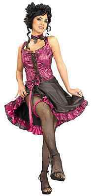 Can Can Dancer Saloon Girl Western Fancy Dress Halloween Adult Costume 2 COLORS (Can Costumes)