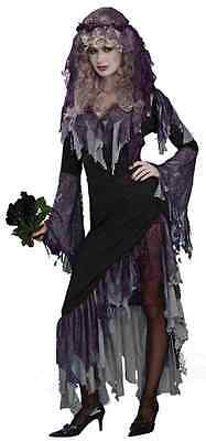 Zombie Bride Gothic Skeleton Ghost Dead Fancy Dress Up Halloween Adult Costume