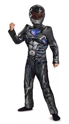 Child Halloween Costume Mask Black Ranger Power Rangers Muscle Boys Large 10-12](Power Rangers Costume Kids)