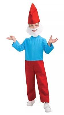 Child Boy's Papa Smurf Halloween Costume Medium 8-10 Hat Beard Outfit