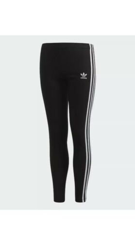 NWT Adidas Originals Girls Black White 3 Stripe Leggings Sma