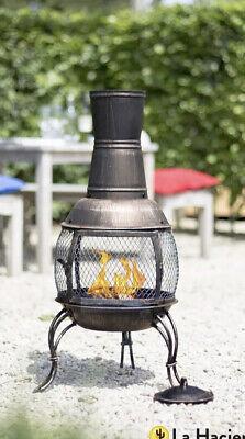 🔥 La Hacienda Medium Steel Bronze Chiminea patio heater fire pit NEW 🔥OFFERS!✅