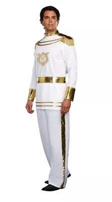 Cinderella Prince Costume (NEW Prince Charming Cinderella Costume Men Size XL Royal Cosplay White Gold)