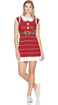 Ugly Christmas Sweater Women's Mrs. Claus Sweater Dress, Cayenne, Large